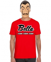 La casa de papel masker inclusief rood bella ciao t-shirt voor heren