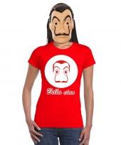 La casa de papel masker inclusief rood dali t-shirt voor dames