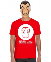 La casa de papel masker inclusief rood dali t-shirt voor heren