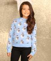 Lichtblauwe winter trui voor meiden