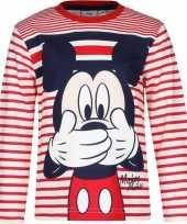 Mickey mouse shirt lange mouw rood wit voor jongens
