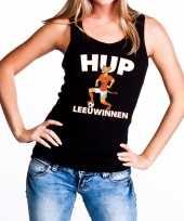 Nederlands elftal supporter tanktop mouwloos shirt hup leeuwinnen zwart voor dames 10151682