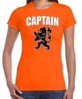 Oranje fan shirt kleding captain met oranje leeuw ek wk voor dames