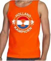 Oranje fan tanktop kleding holland kampioen met beker ek wk voor heren