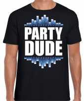 Party dude fun tekst feest disco t-shirt zwart voor heren