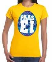 Pasen shirt geel met blauw paasei voor dames