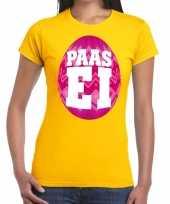Pasen shirt geel met roze paasei voor dames