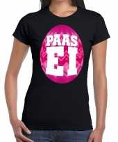 Pasen shirt zwart met roze paasei voor dames