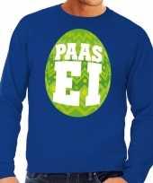 Pasen sweater blauw met groen paasei voor heren