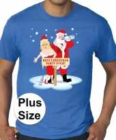 Plus size fout kerstborrel shirt kerst t shirt best christmas party ever blauw voor heren