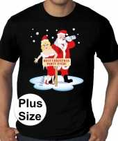 Plus size fout kerstborrel shirt kerst t shirt best christmas party ever zwart voor heren