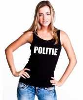 Politie mouwloos shirt zwart voor dames