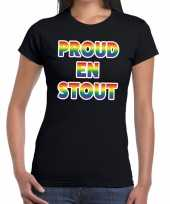 Proud en stout gaypride tekst fun shirt zwart dames