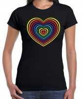 Regenboog hart gay pride evenement shirt voor dames zwart