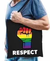 Regenboog respect gaypride tas zwart katoen