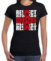 Respect rood kruis steun shirt zwart voor dames