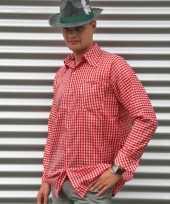 Rood geruit tiroler overhemd voor heren