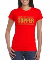 Rood topper shirt in gouden glitter letters dames