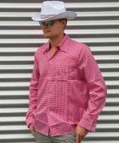 Roze geruit cowboy overhemd voor heren