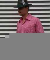 Roze geruit tiroler overhemd voor heren