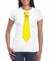 Shirt met gele stropdas wit dames