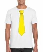 Shirt met gele stropdas wit heren