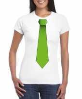 Shirt met groene stropdas wit dames