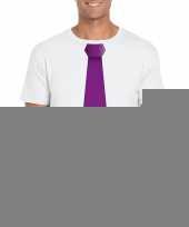 Shirt met paarse stropdas wit heren