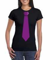 Shirt met paarse stropdas zwart dames
