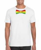Shirt met rood geel groene limburg strik wit heren