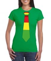Shirt met rood geel groene limburg stropdas groen dames