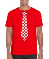 Shirt met rood witte brabant stropdas rood heren