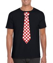 Shirt met rood witte brabant stropdas zwart heren