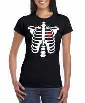 Skelet halloween t-shirt zwart voor dames