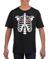 Skelet halloween t-shirt zwart voor jongens en meisjes
