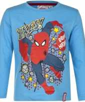 Spiderman shirt lange mouw blauw voor jongens 10076448