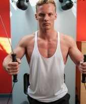 Sportkleding haltershirt voor mannen wit