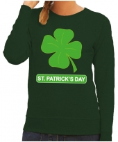 St patricksday klavertje sweater groen dames