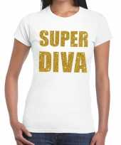 Super diva goud fun t-shirt wit voor dames
