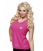 Toppers top shirt met roze pailletten glitters dames
