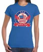 Usa drinking team t-shirt blauw dames