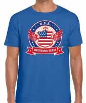 Usa drinking team t-shirt blauw heren
