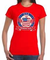 Usa drinking team t-shirt rood dames