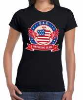 Usa drinking team t-shirt zwart dames
