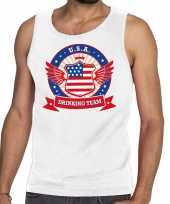 Usa drinking team tanktop mouwloos shirt wit heren