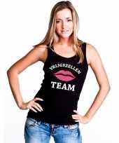 Vrijgezellenfeest team mouwloos shirt zwart voor dames