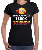 What do you mean i look stupid emoticon fun shirt dames zwart