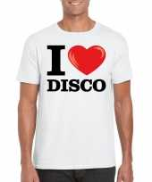 Wit i love disco t-shirt heren