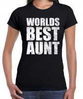 Worlds best aunt tante kado t-shirt zwart voor dames cadeau shirt verjaardag