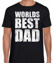 Worlds best dad kado t shirt zwart voor heren cadeau shirt papa vaderdag verjaardag